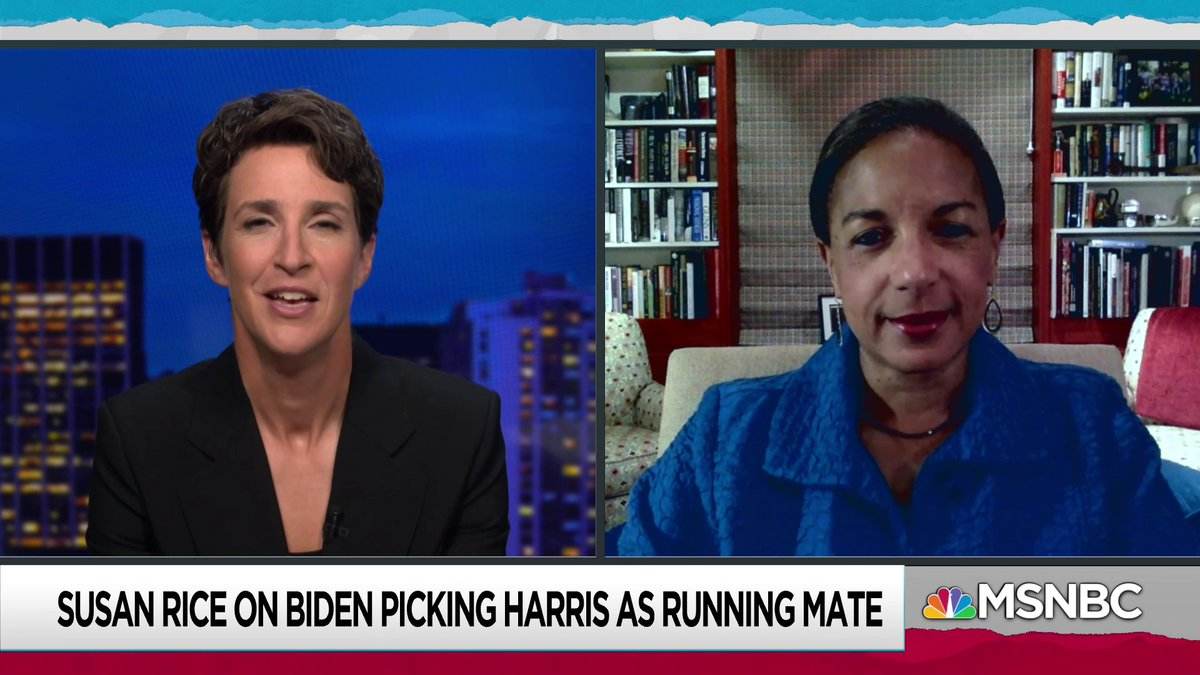 Live now on @MSNBC: Susan Rice discusses the Biden-Harris presidential ticket with @maddow msnbc.com/live