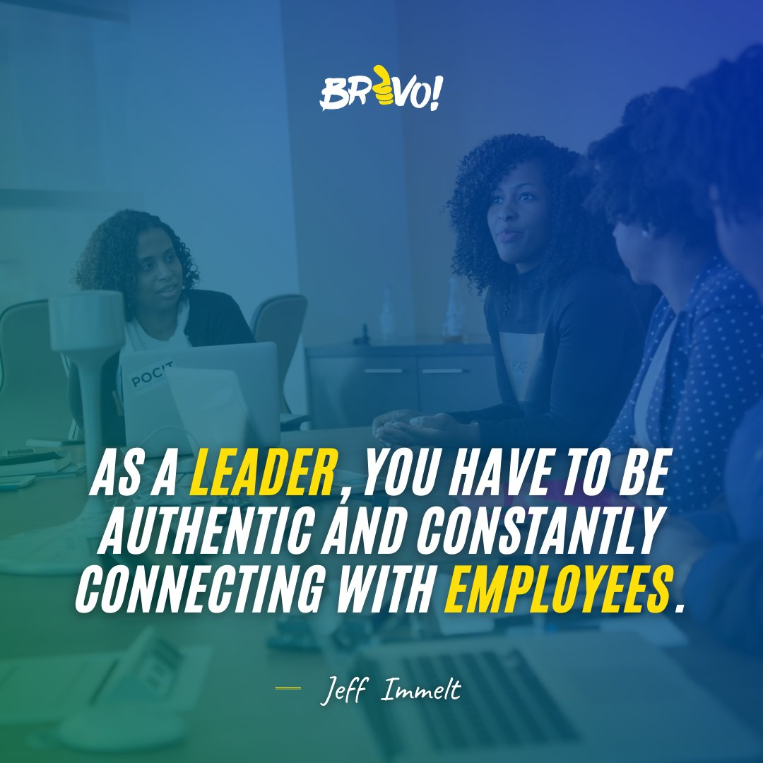 Authenticity and connection are the two main things that subordinates seek from their superiors. It shows them a place to look up to!  #BRAVO #EmployeeEngagement #Leadership #EmployeeMotivation #EmployeeRecognition #Millennials https://t.co/O7Q5XpVqje