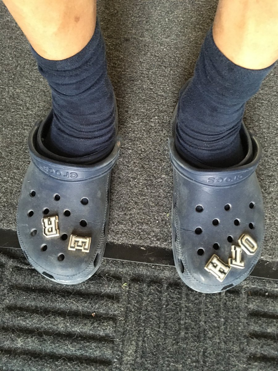 Crocs and socks are OK if the socks match? (these are my other pair)