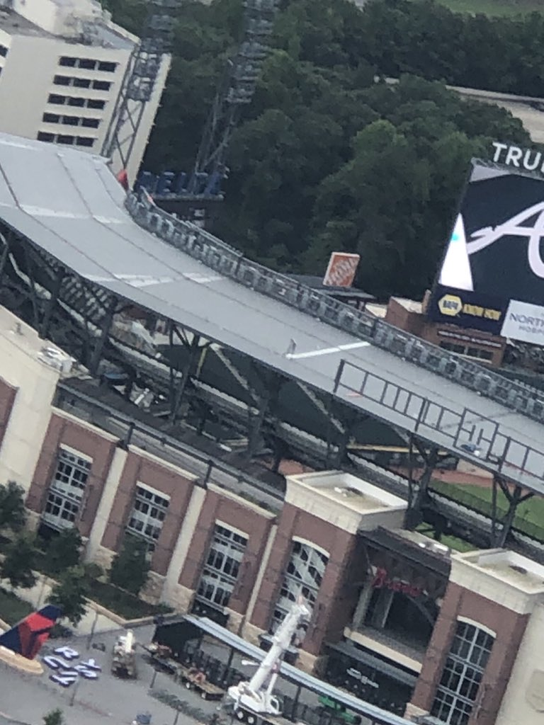👀 Truist Park banner is down and the new, big letters on the ground ready for hanging. @TruistPark https://t.co/wh4QEaaPeu