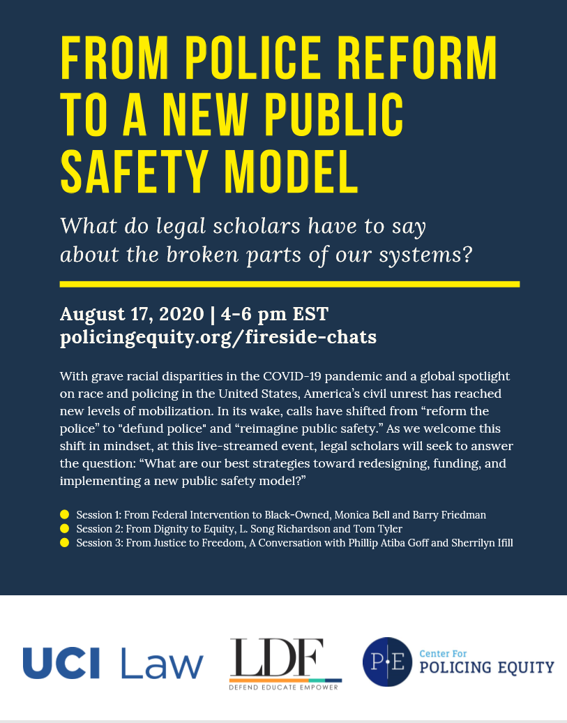 """We are excited to partner with @NAACP_LDF and @UCILaw to present """"From Police Reform to a New Public Safety Model: What do legal scholars have to say about the broken parts of our systems?"""" Learn more and RSVP to join us Monday, August 17 from 4-6pm ET https://t.co/iXrzNsSBX2 https://t.co/l7DFQeUBlq"""