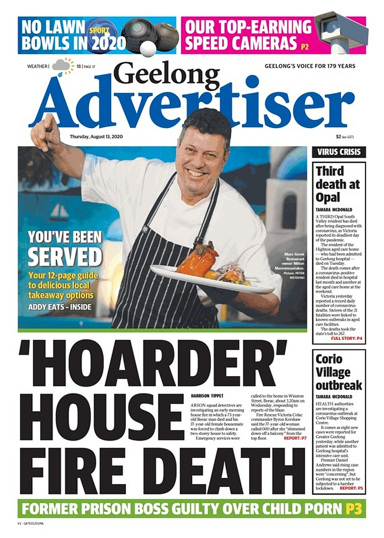 Front Pages Today On Twitter Hoarder House Fire Death Hwtippet Frontpagestoday Australia Geelongadvertiser Buyapaper