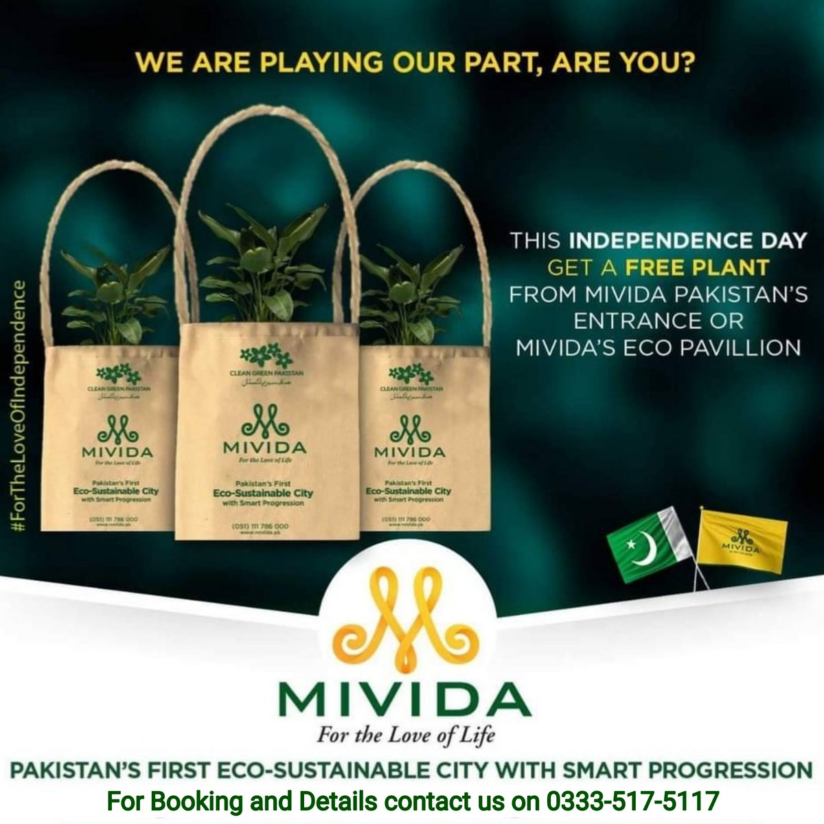 This Independence day get a free tree from Mivida City Islamabad's Entrance or Mivida Eco Pavillion. Join hand with us of PM #ImranKhan 's Initiatives #GreenPakistan. For more information contact us on 0333-517-5117  #Mivida #MividaPakistan #Pakistan #MividaCity https://t.co/IpEIF5c2WD