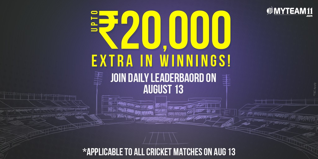 Get Additional WINNINGS with Daily Leaderboard at MyTeam11. Valid on all the Cricket matches of 13th August! Create Your Team Now! #MyTeam11 #DailyLeaderBoard #CashBonus #Cricket #India https://t.co/BJ69f9lRPY