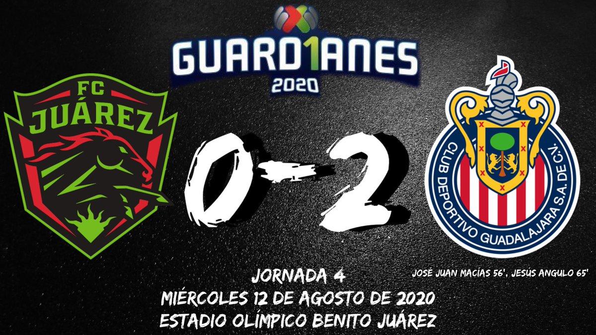 Marcador final  @fcjuarezoficial 0-2 @Chivas   💚🖤 🐎 💚🖤  #FCJuarez #JuarezeselnumberONE #VamosBravos #SoyBravo #Bravos #CiudadJuarez #Juarez #ArribaJuarez #ligamx #ligabbvamx #guard1anes2020 https://t.co/1ycaffNdBC