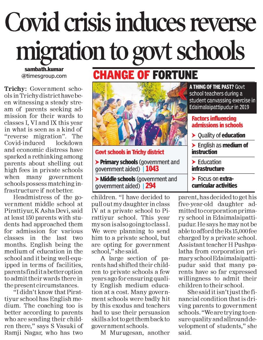 #COVID19 #crisis #induces #reverse #migration to #Govt #schools @timesofindia  https://t.co/KQkVQI5iaK Download the TOI app now: https://t.co/pSctUiPS90 https://t.co/3FdCm463xM