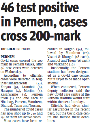 46 test positive in Pernem, cases cross 200-mark #CovidInGoa #Health #Govt #CovidPandemic @goacm @visrane @BabuAjgaonkar @DHS_Goa #PernemGoa https://t.co/uZypaXglTD