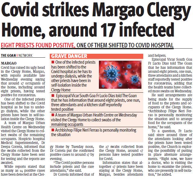Covid strikes Margao Clergy Home, around 17 infected #CovidInGoa #Health #CovidRise #SouthGoa #MargaoGoa #Govt @digambarkamat @goacm @visrane @GoaGmc @DHS_Goa https://t.co/dL9LSbLSLZ