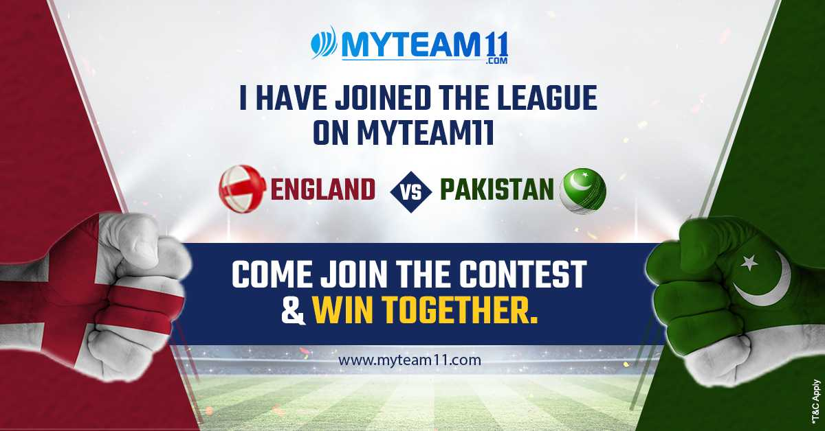 Let's Play and Win Together on MyTeam11! Create your Team Now for #ENGvsPAK only at https://t.co/NlcAEQYRD0 #England #Pakistan #TestSeries #T20I #Cricket #MyTeam11 #India https://t.co/w1ZpOM0FqM
