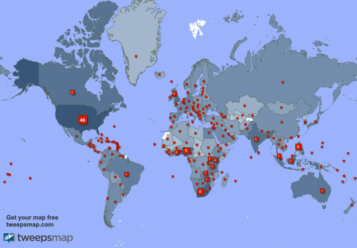 Special thank you to my 360 new followers from Nigeria, India, Ghana, and more last week. tweepsmap.com/!can2009