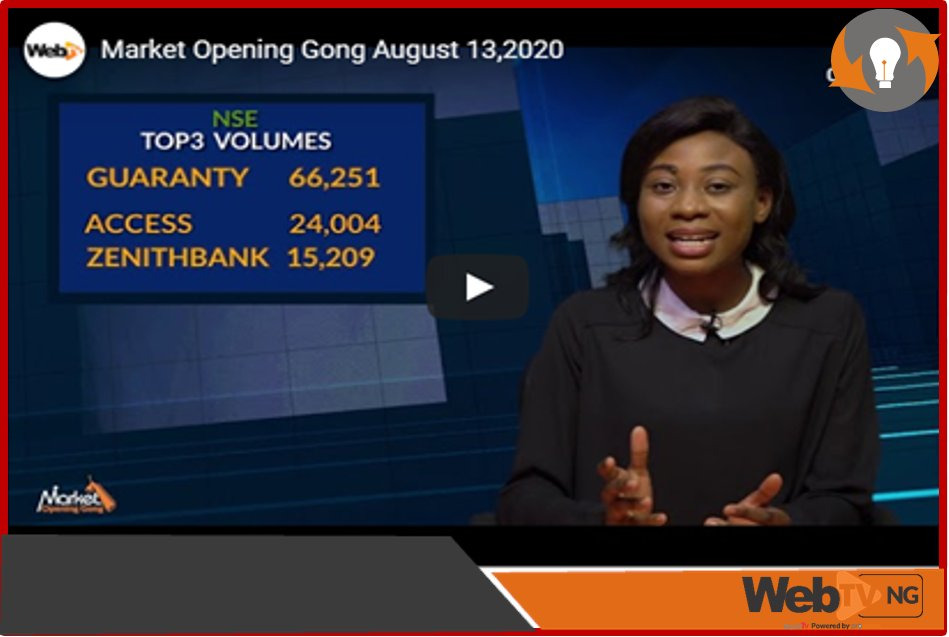 #VIDEO: Watch the August 13th, 2020: Edition of the Market OPENING GONG with @nifetaiyese, giving you a wrap-up of activities and what to expect from the major exchanges in the Nigerian capital market.  https://t.co/Gj65UMAN5Z Via @WebTVng https://t.co/6RpALa79uQ