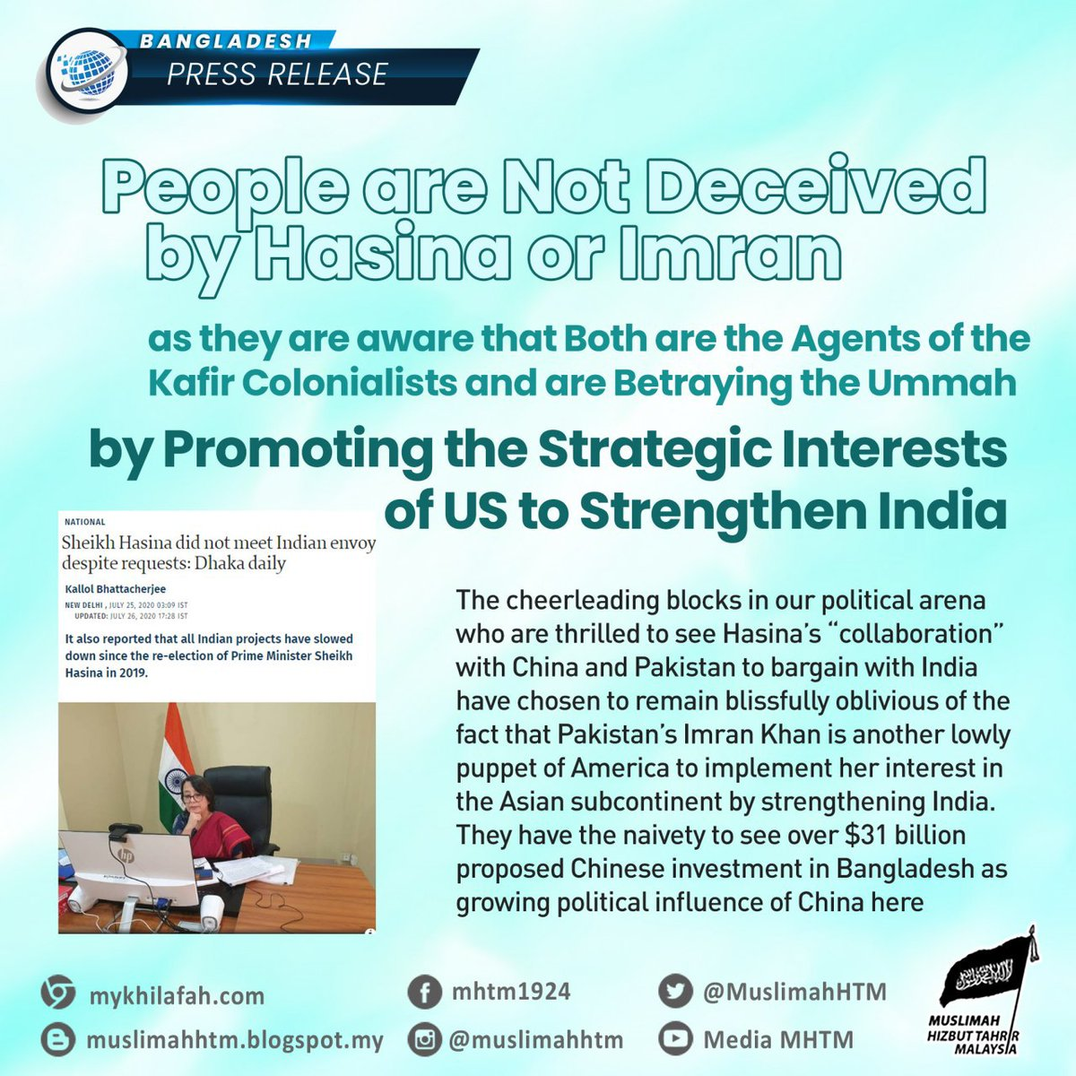 [GLOBAL] #BANGLADESH - Press Release  People are Not Deceived by #Hasina or Imran as they are aware that Both are the Agents of the Kafir #Colonialists and are Betraying the Ummah by Promoting the Strategic..  Full Article: https://t.co/48YYSwUW6x https://t.co/ulvMMgCCjL
