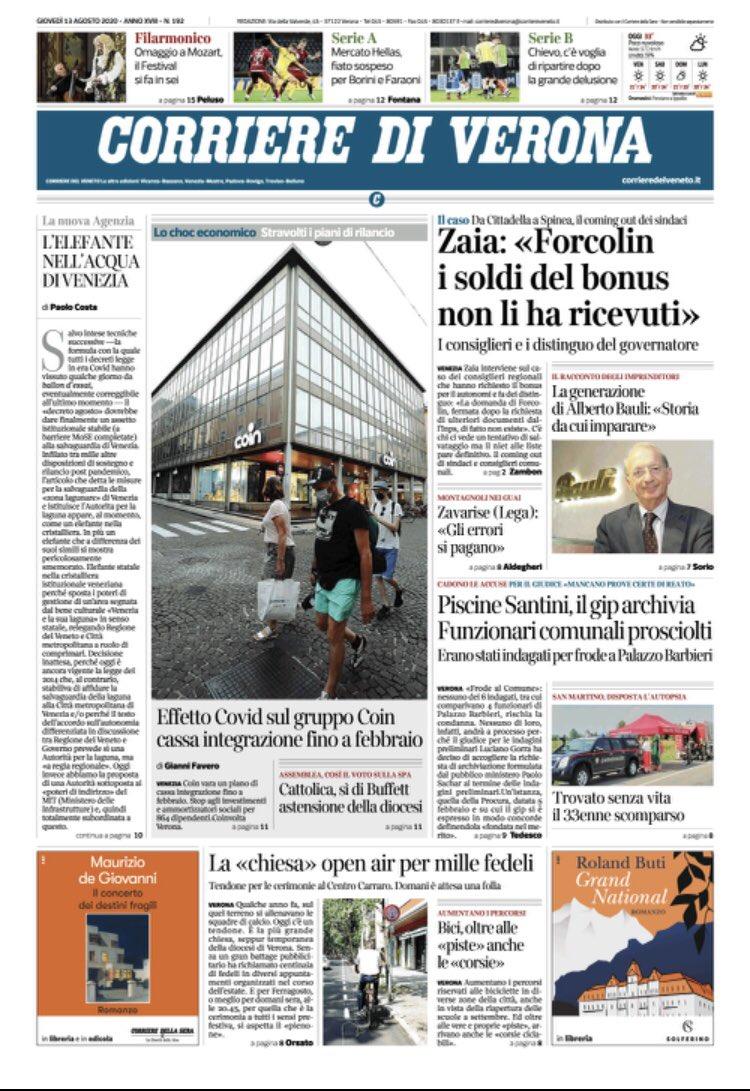 #Buongiorno ecco la #primapagina del Corriere di #...