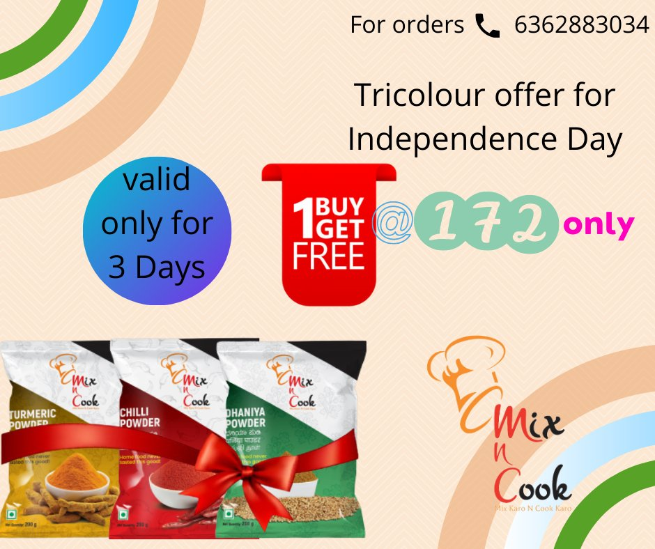 Independence Day Tricolour offer till 15th August. BUY1 GET1 FREE Valid only for 3 days  HURRY! . . . . . #mixncook #masalas #Spices #IndependenceDay #offer #Buy1Get1Free #vocalforlocal #madeinindia #indianfood #indianmasala #indianfood #goodvibes #bangalore #bangalorefoodies https://t.co/yE7JGHiMQ1