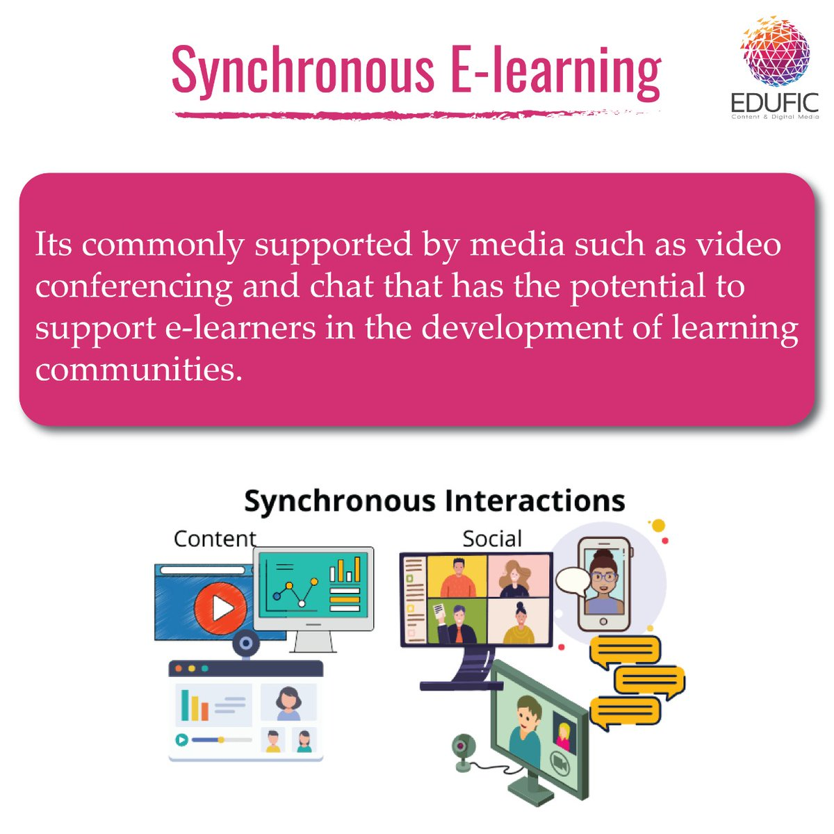 Learners and teachers experience synchronous e-learning as more social and avoid frustration by asking and answering questions in real-time. Follow this space to know more about asynchronous e-learning. #elearning #education #onlinelearning #learning #covid #edtech #online https://t.co/mUo9Bjdzfg
