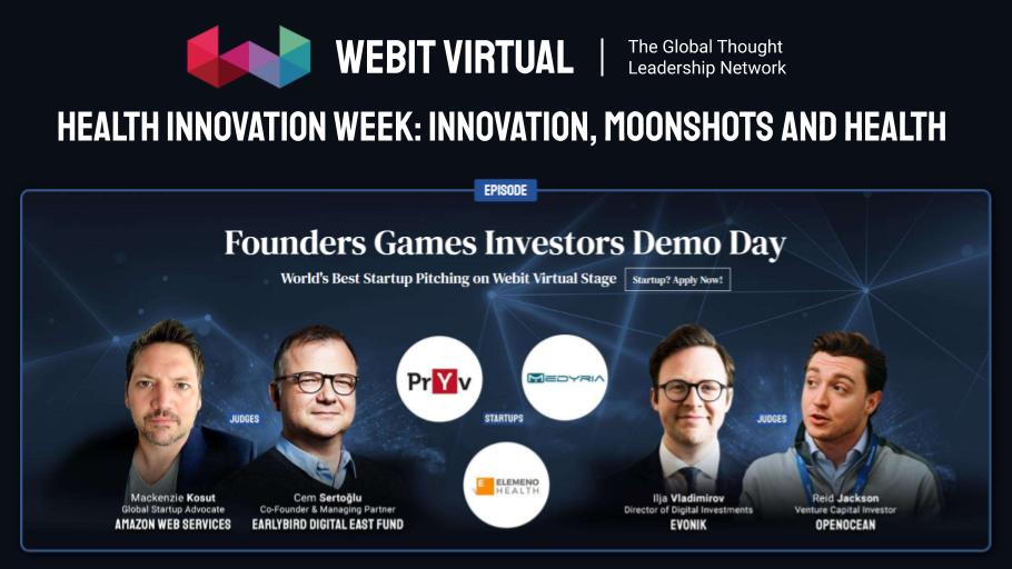 In case you missed #Webit Virtual Health Innovation Week: Founders Games Investors Demo Day with @mkosut,  @awscloud @csertoglu, @EarlybirdVC  Ilija Vladimirov @Evonik, @reidjcksn, hosted by Dr. @PlamenRussev, now you can watch the rewind of the episode👇  https://t.co/b47NLCbcbh https://t.co/5b7EIswzll