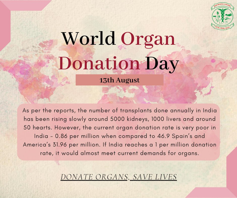 Amid COVID-19, organ donation, transplant surgeries and the need for donors have come to a halt. It has affected ailing patients who are in need of transplants.  This World Organ Donation Day, we urge people to support the noble cause & pledge to donate their organs after death. https://t.co/TecXKBjQVU