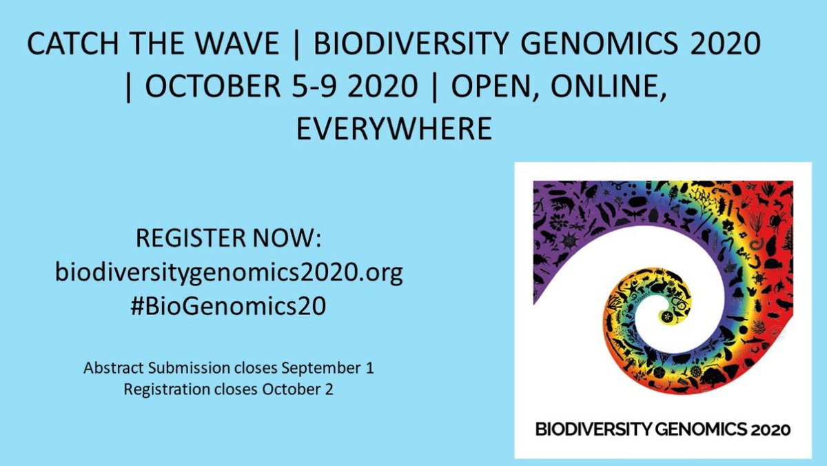 Don't miss out on this! Come and join in for the Biodiversity Genomics #BioGenomics20 conference organised virtually by @sangerinstitute @darwintreelife. Abstract submission deadline coming up soon. 🙂🐟🦎🦗🐞🦋🦄 #biodiversity #Genomics