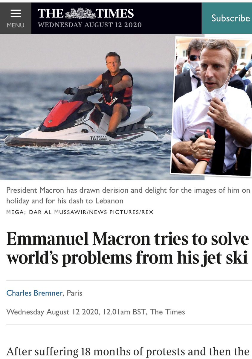 Ali Ozkok On Twitter The Times Emmanuel Macron Tries To Solve World S Problems From His Jet Ski