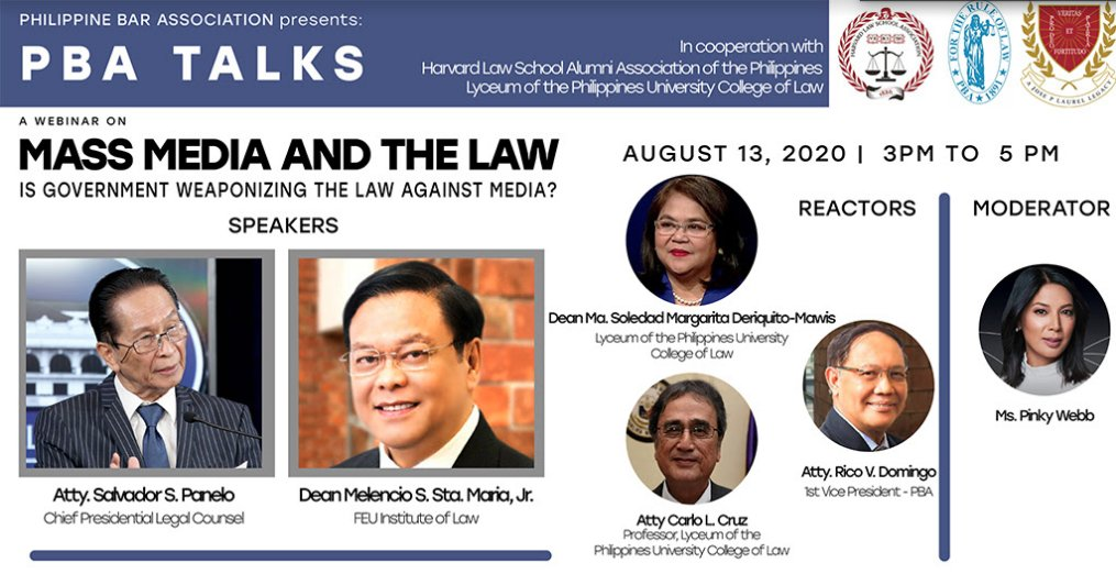 PH Bar Association holds online forum on Mass Media and the Law: Is Govt Weaponizing the Law Against Media? with speakers Chief Presl Legal Counsel Salvador Panelo and FEU Law Dean Melencio Sta. Maria, Jr. Takeoff: Maria Ressa conviction, ABS-CBN shutdown, Anti-Terror law https://t.co/aCXpvGmfA5