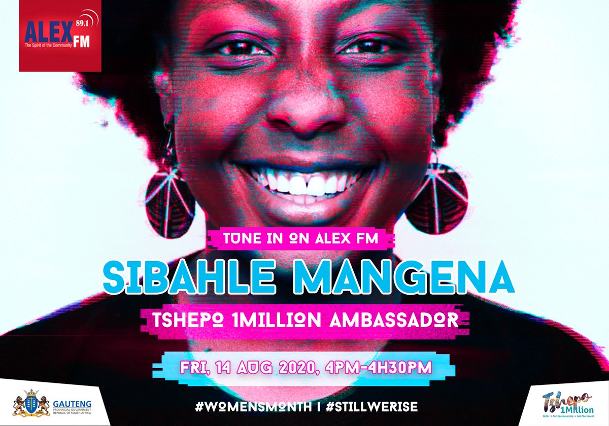 🌟Catch @Tshepo1Million ambassador Sibahle Mangena's second Women's month interview on Alex FM 89.1MHz this Friday the 14th of August 2020. Tune in from 16h00 to 16h30!  #WomensMonth #StillWeRise #IAmTshepo https://t.co/GCtThyVrNt