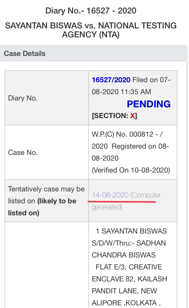 SC Case Status is still showing the date of hearing of our NEET JEE Petition on 14th August (Tomorrow)  Tomorrow's Supplimentary List will be published by 6 PM today.  Most likely our matter will come in Supplimentary List.  We are continuously trying for its URGENT listing ASAP!