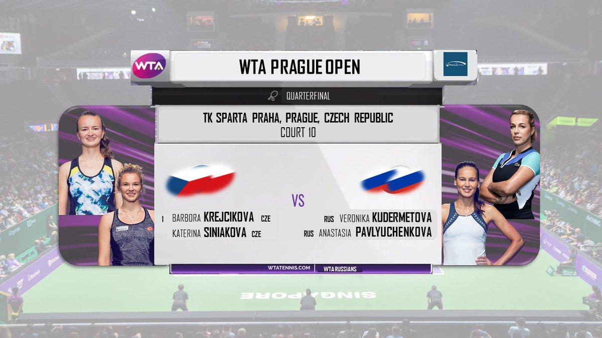 Another blockbuster doubles match! Veronika Kudermetova and Anastasia Pavlyuchenkova (@NastiaPav) go up against two-time Grand Slam champions and top seed Barbora Krejcikova and Katerina Siniakova in the quarterfinals of the Prague Open. https://t.co/BJJb41odsu