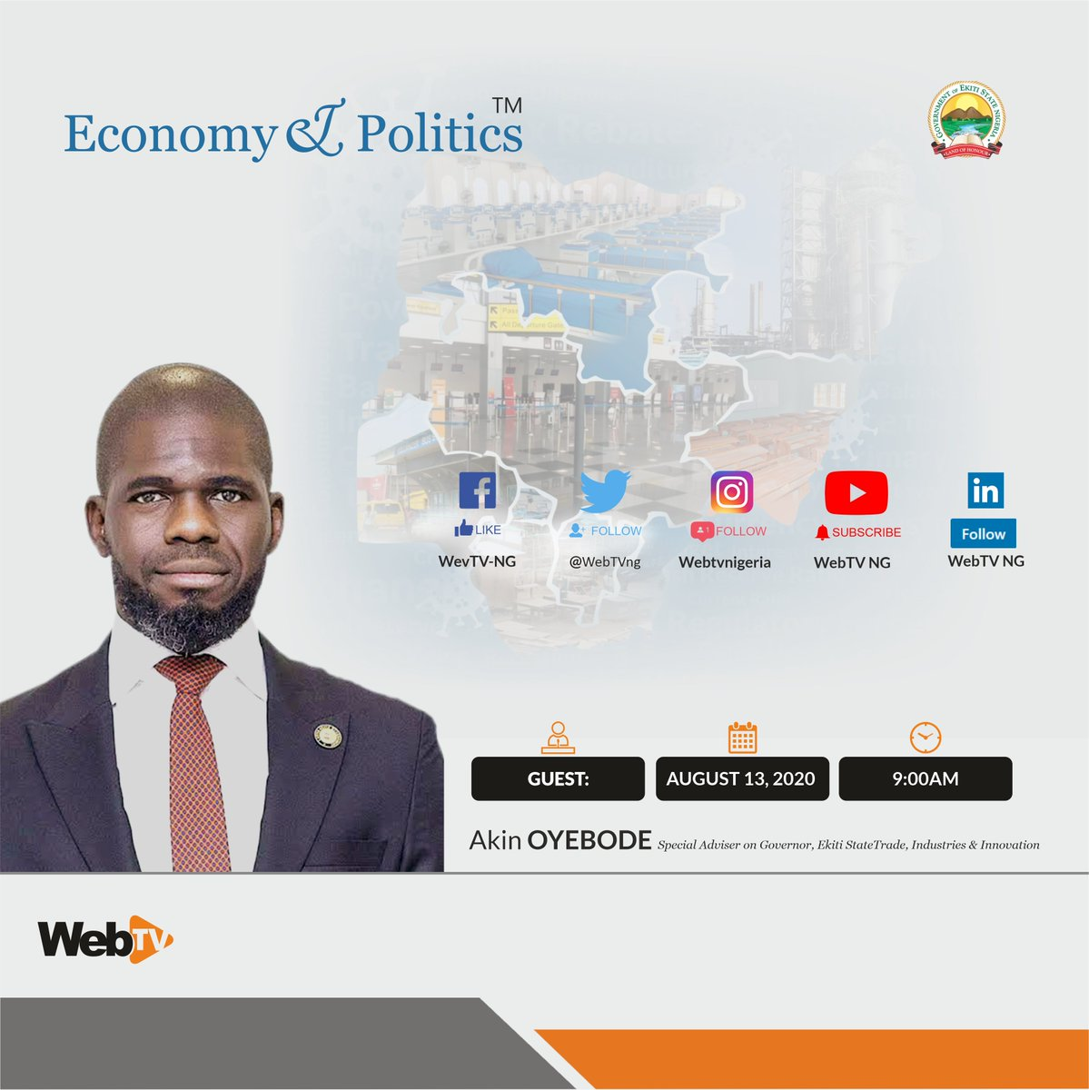 Happening Now! The #EconomyAndPolitics Show with @ecopoliticsNG & the Anchor @ottoabasi1 engaging the guest speaker @AO1379 Mr Akin Oyebode, Special Adviser to the Governor, @ekitistategov on Trade, Industries & Innovation Send your comments through #ASKWebTV #States #Investment https://t.co/lXrFnvnO8c