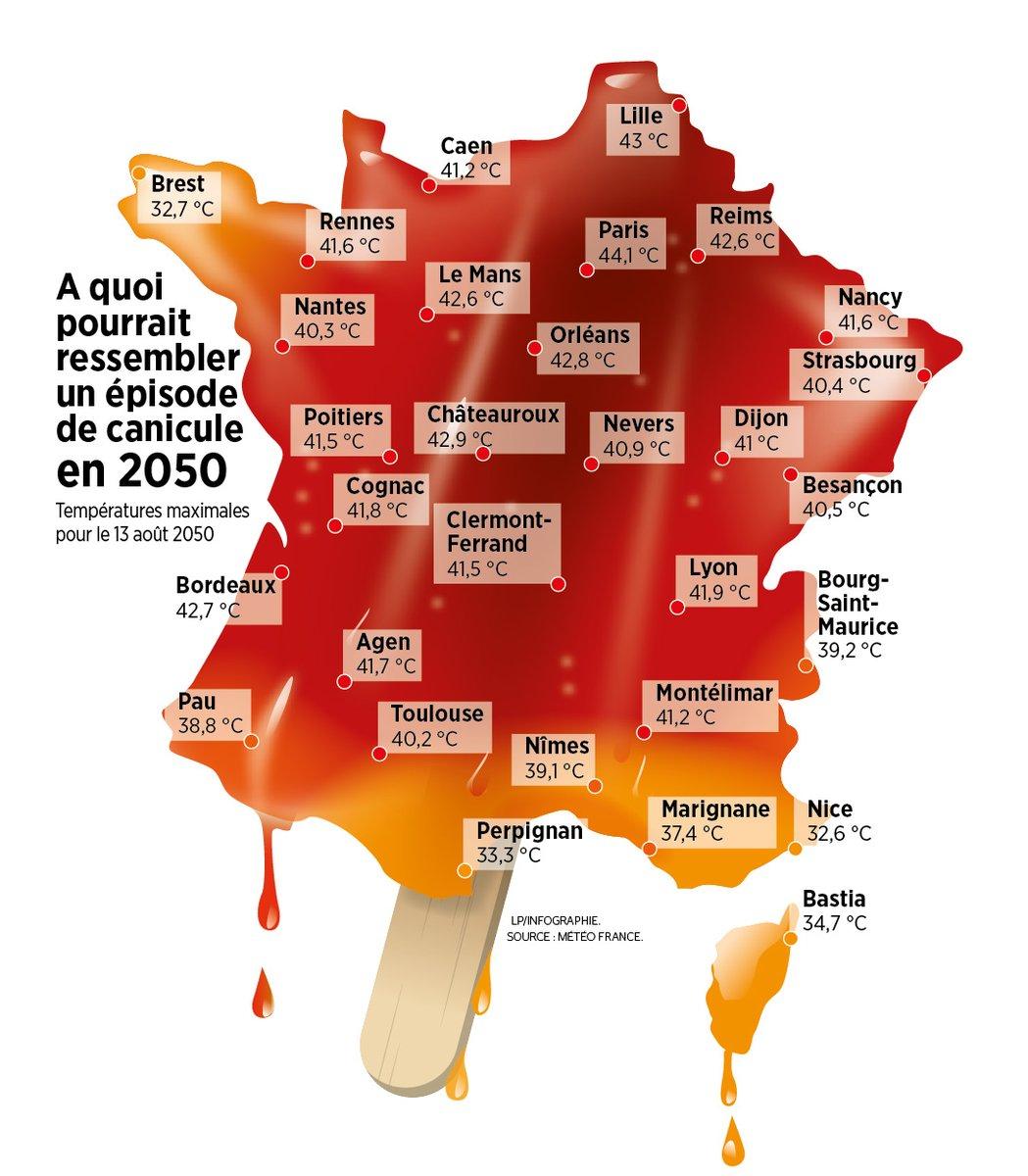 🌡️Épisode #canicule en 2050 || Météo-France a fait mouliner ses machines pour la réalisation de cette carte. Dans l'état actuel de la science, en 2050 une vague de chaleur sera de 1,2/1,5°C plus chaude que celle que nous venons de connaître, selon scénario «laisser faire», #GIEC. https://t.co/IikLDz9KQz https://t.co/7UjFy7VbDA