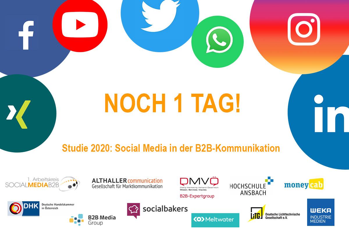 Nicht verpassen! Morgen schließen wir die #Umfrage zu unserer B2B Social Media-Studie – bis dahin haben Sie noch die #Chance zur #Teilnahme unter folgendem Link: https://t.co/5mGFn00Izb #marktkommunikation #studie #budget #strategie #socialmedia #b2b https://t.co/zjeYHbBK80