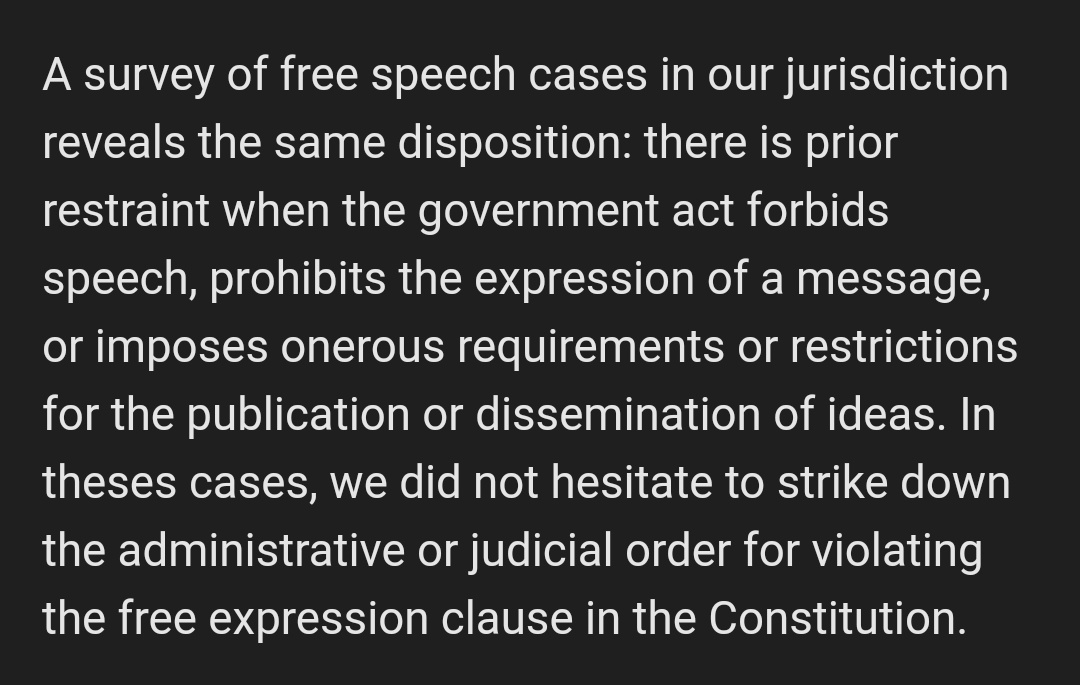 The SC has been consistent on its rulings in free speech cases. Absent any valid, substantial governmental interest, the constitutional right of the people to free press, expression, and assembly should be upheld (Chavez vs. Gonzales, G.R. No. 168338) #JunkTerrorLaw pic.twitter.com/dkHTkcAt7M
