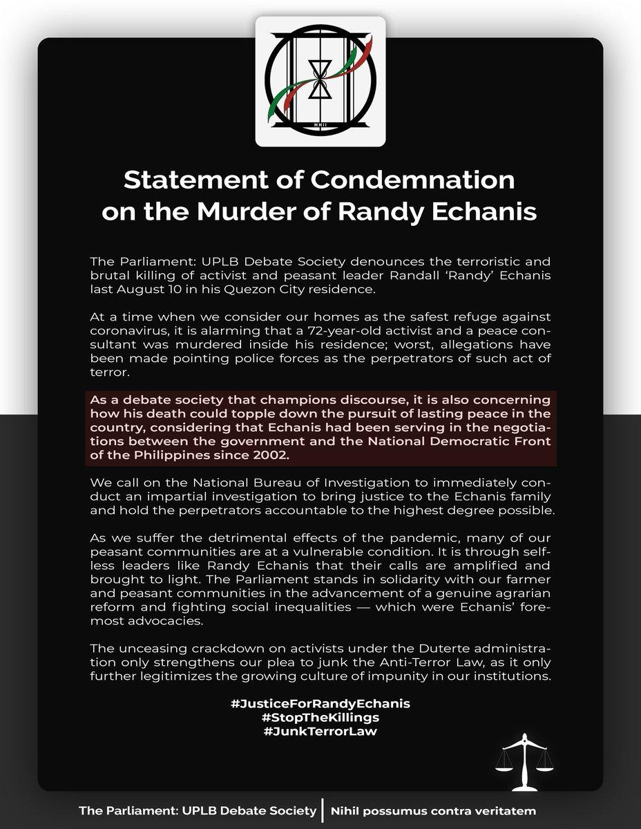 Statement of Condemnation on the Murder of Randy Echanis  #JusticeForRandyEchanis  #StopTheKillings  #JunkTerrorLaw pic.twitter.com/pNcKTj5Z6b