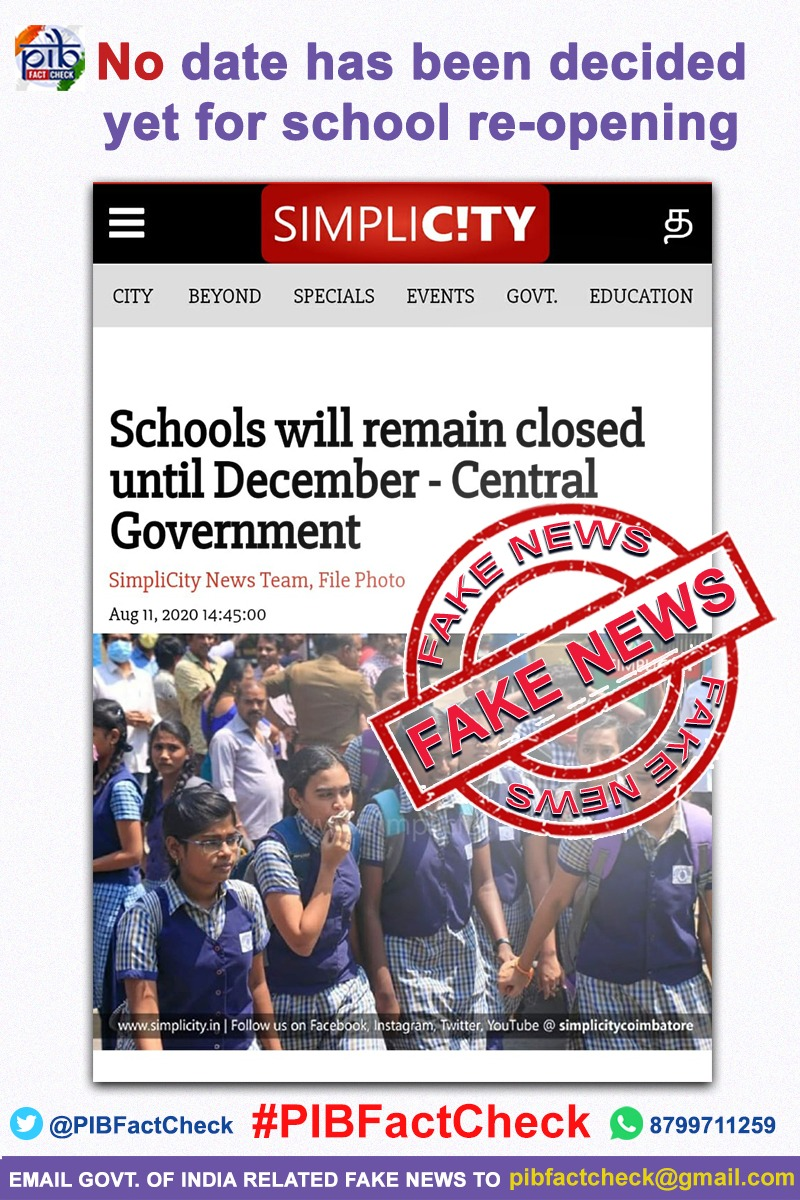 A news agency has reported that the Central Government has decided to not re-open schools until December
