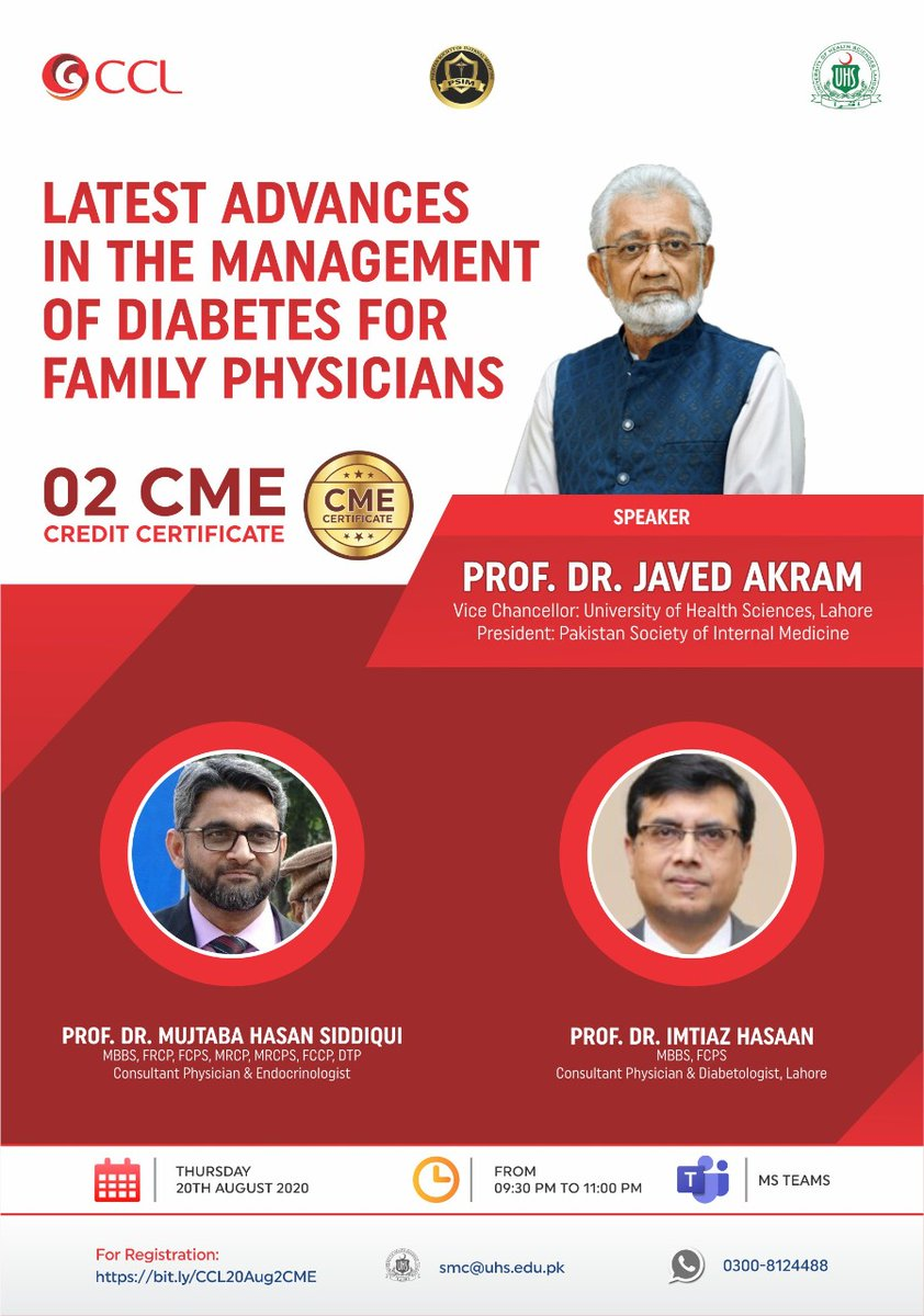 We are back with another great opportunity for Healthcare Practitioners. CCL Pharmaceuticals collaborates with UHS and PSIM to arrange a webinar on Latest Advances in the Management of Diabetes for Family Physicians. For Registrations: bit.ly/CCL20Aug2CME