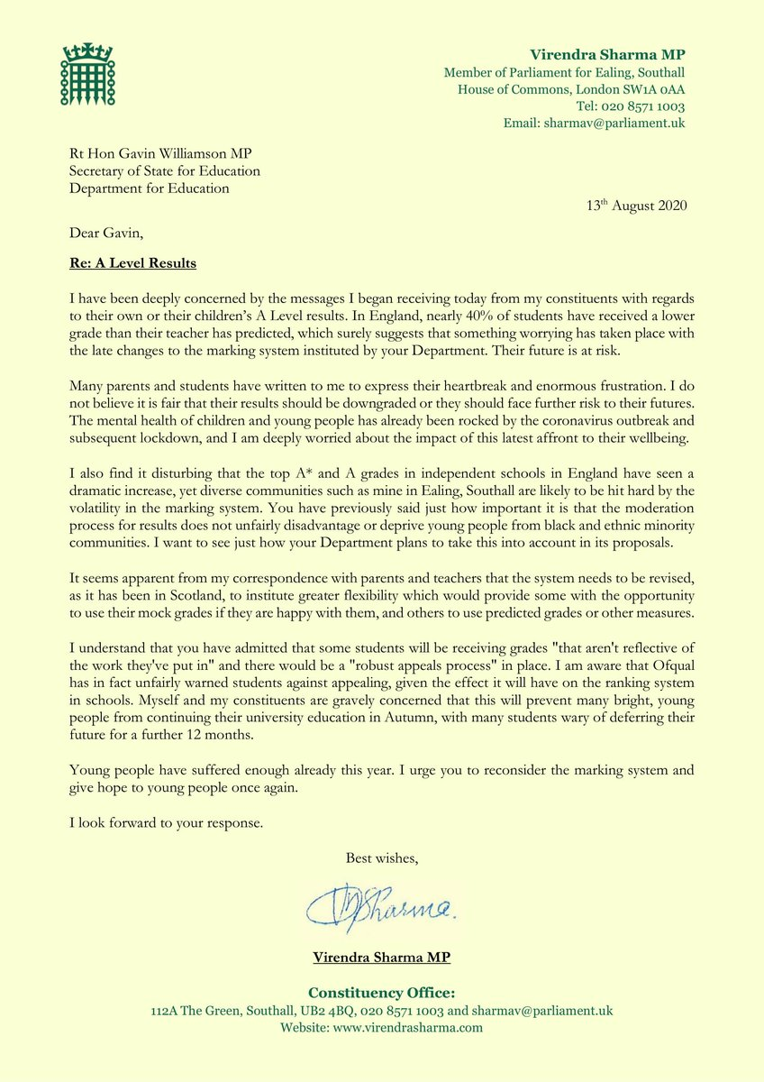 Today I wrote to the Education Secretary to share the heartbreak and enormous frustration of students in my constituency, whose future has been put at risk by this Govt. Young people have suffered enough already this year, we cannot allow yet another affront to go unchallenged