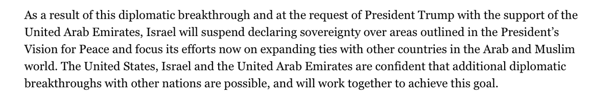 From todays surprise announcement re UAE & Israel normalizing relations: