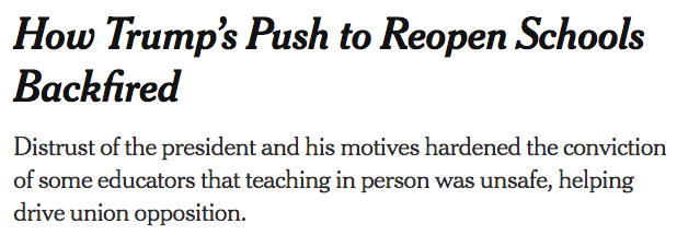 WTF is this NYT framing. Teachers dont want to stay home because they hate the president. They want to stay home because they know how to appropriately find, process, interpret, and apply all the EVIDENCE that COVID-19 is going to spread if/when schools open.