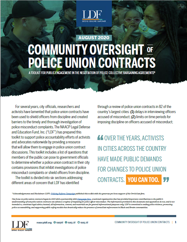 Our work in the streets and calls for justice are slowly pushing this country toward progress. We can continue to move the needle by pushing back against dangerous provisions included in many police union contracts. @NAACP_LDF 's toolkit can help.   Visit https://t.co/1roQhdMMD7. https://t.co/VtEizxl9Hn