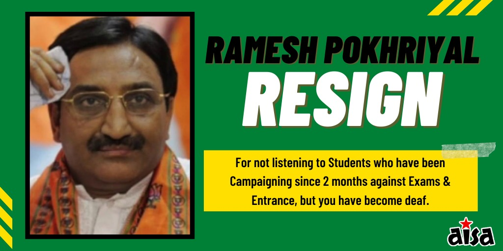 PM @narendramodi should immediately sack his Education Minister who is adamant conducting Exams & Entrances during a pandemic. @DrRPNishank wants Students to risk their lives!! Its unacceptable! #IAmAgainst_ExamInCovid #cancelcompartmentexam2020 #PostponeJEE_NEET_HRD