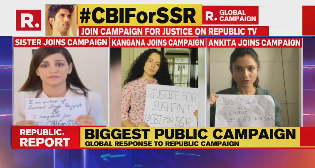 Republic On Twitter Cbiforssr Join India S Biggest Public Campaign And Demand Justice For Sushant Singh Rajput Tweet Your Videos Using The Hashtag And Join Republic Media Network S Campaign Https T Co Rgqjsikgt2 Https T Co Yy8r9enzld