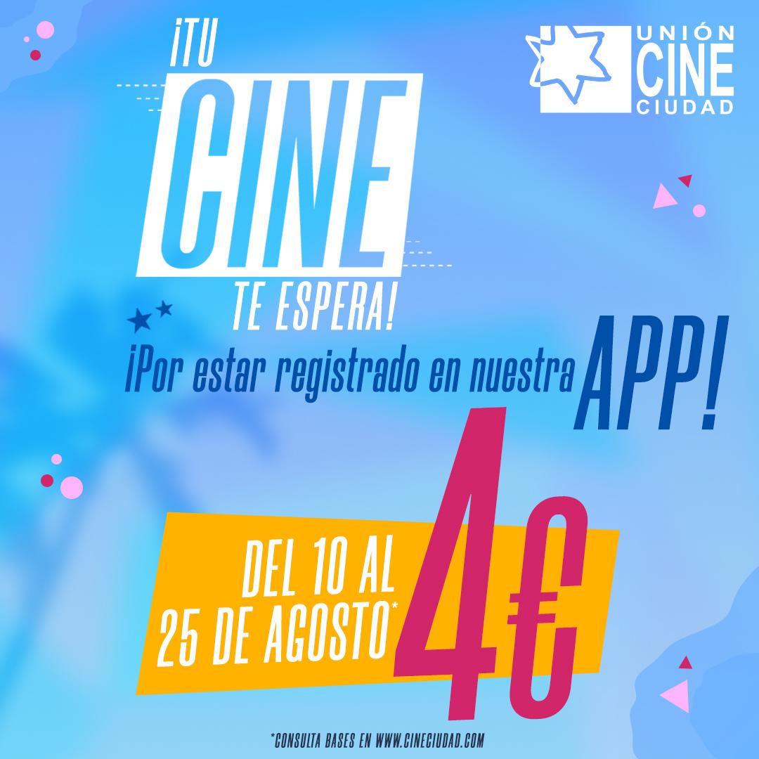 ¿Tienes ganas de cine? Consigue tu entrada por solo 4 euros comprándolas en la APP de @UnionCineCiudad del 10 al 25 de agosto 🍿🥤 #Cine 2