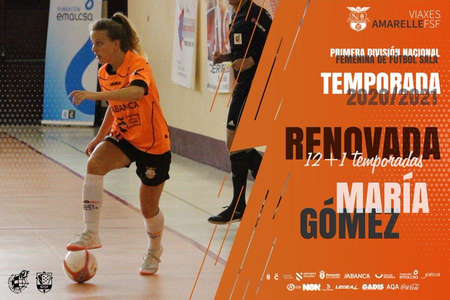 Compromiso renovado de María Gómez con el primer equipo del Viaxes Amarelle FSF, para iniciar su temporada 13 en el club