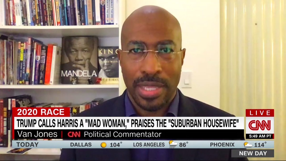 """President Trump calling Sen. Kamala Harris """"mad woman,"""" is """"just not effective,"""" @VanJones68 says. """"Once you go down the angry black woman thing, even African Americans who might have been holding back... now you're creating a wave of sympathy and empathy and solidarity for her."""""""
