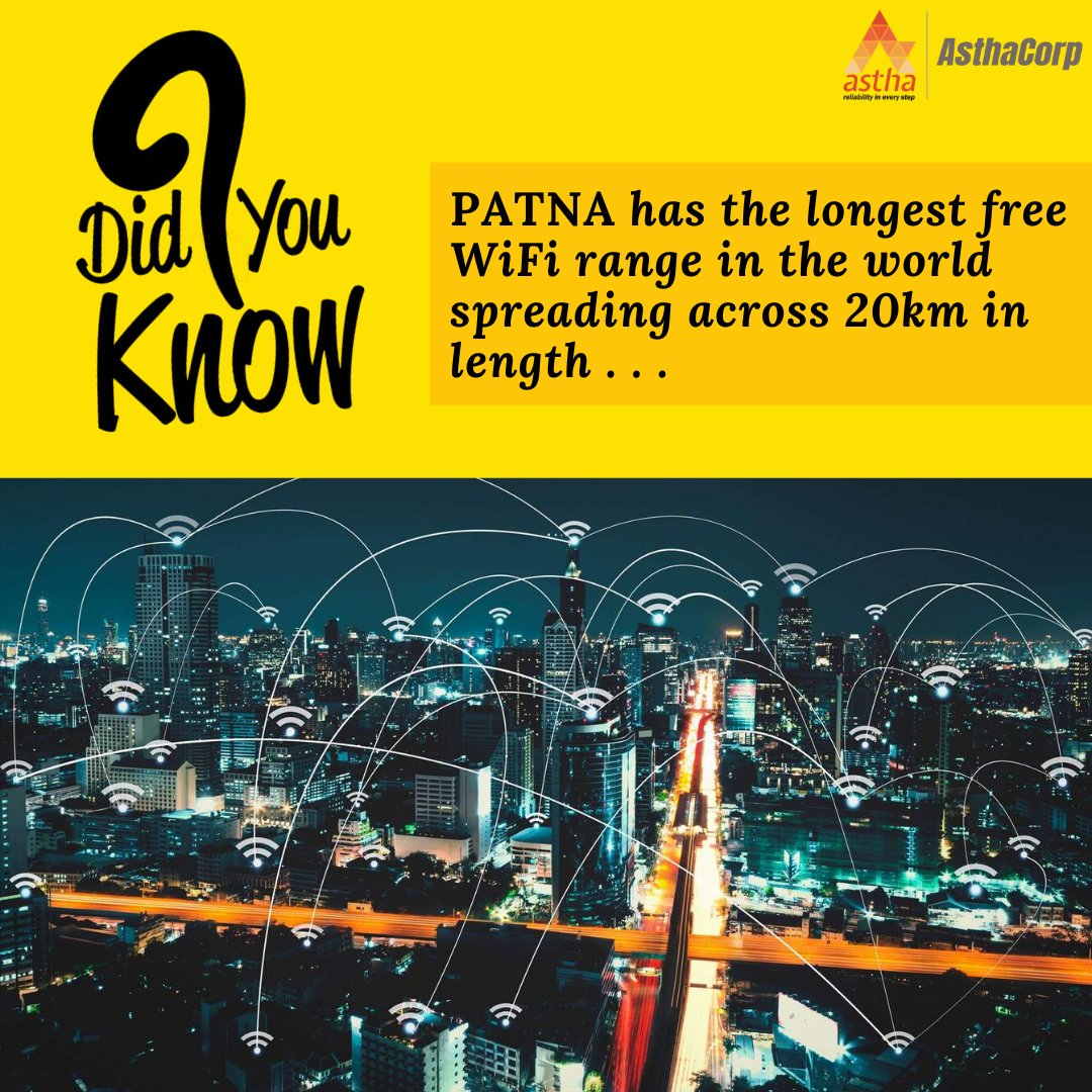 The Indian state of Bihar boasts of the worlds longest stretch of free WiFi zone. It starts from NIT, Patna to Danapur. Before this, China 3.5 Kms long Wi-Fi zone was considered the longest but Patna has now overtaken this achievement.  IMAGES, GIF, ANIMATED GIF, WALLPAPER, STICKER FOR WHATSAPP & FACEBOOK