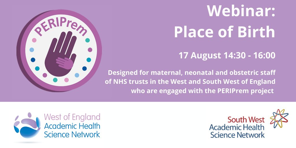 Register now for our Place of Birth #PERIPrem #webinar on Monday 17 August where we'll discuss the current challenges of ensuring very early pre-term babies are born in a hospital with a #neonatal unit: https://t.co/Do7o4qRjQP https://t.co/yOtcWCd6oT