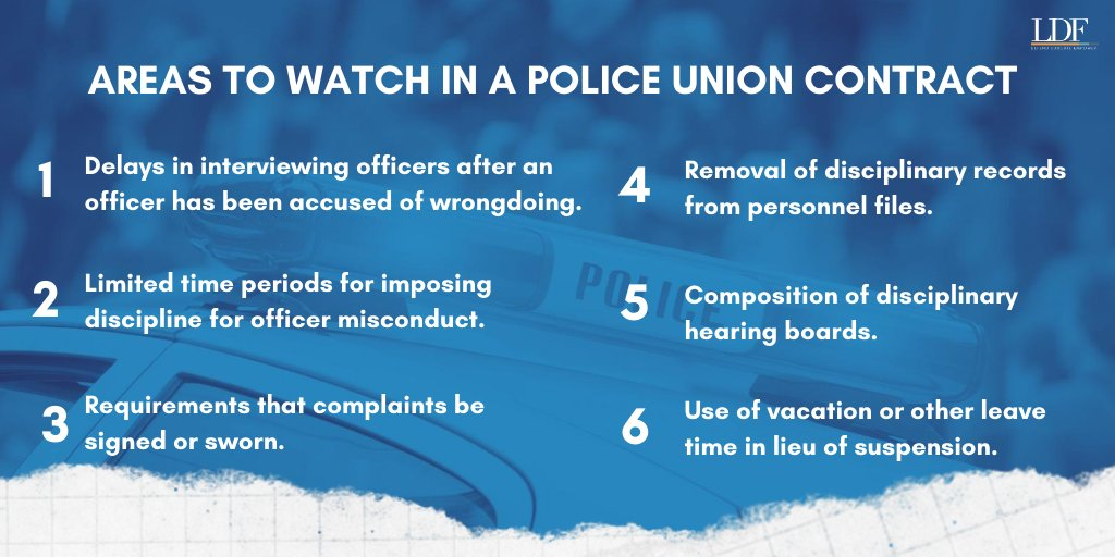 .@NAACP_LDF's toolkit is broken down into six areas activists need to watch when reviewing police union contracts. We detail how these provisions can shield officers from discipline for their misconduct and identify critical questions activists need to ask while reviewing. https://t.co/66YtKVKdi7