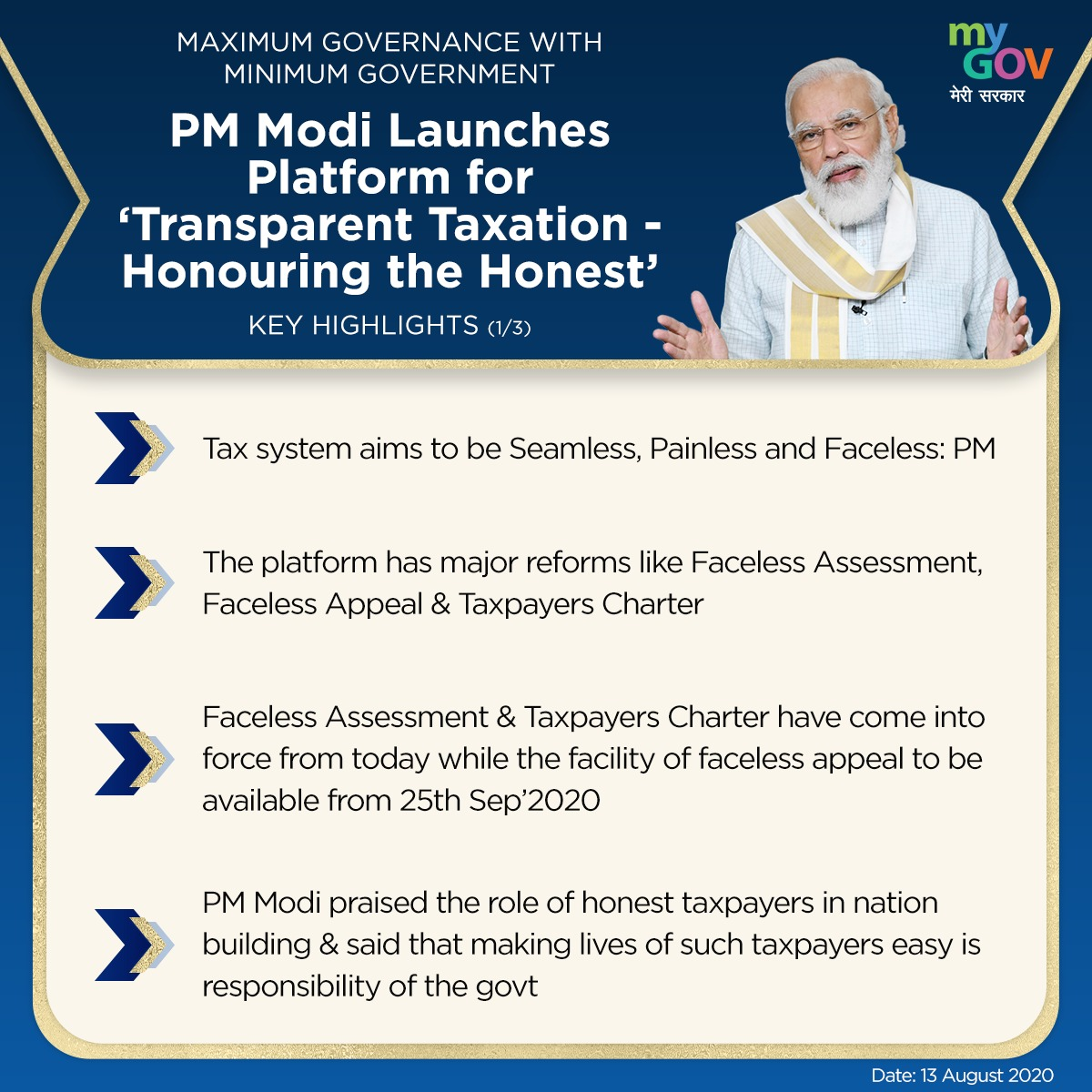 Here are the key highlights of PM @narendramodi's address at the launch of 'Transparent Taxation - Honoring the Honest' platform. #HonoringTheHonest https://t.co/JksAaIxNA1