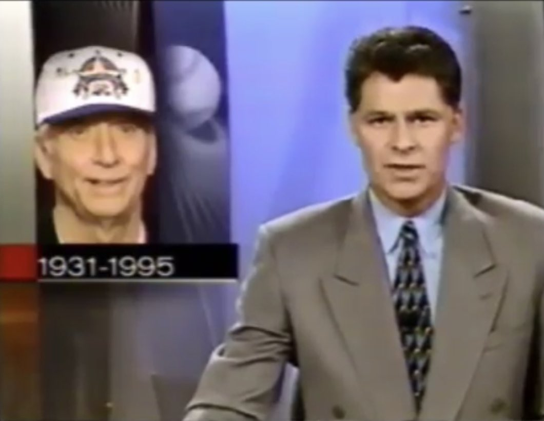 25 years ago today Mickey Mantle died, and @dpshow and I put away the jokes and the catchphrases and devoted most of the Sunday night/Monday morning @sportscenter to the grieving for an icon, and the end of an era. The entire hour is here: https://t.co/GQmmqYTBpt https://t.co/k18Nrepj2f