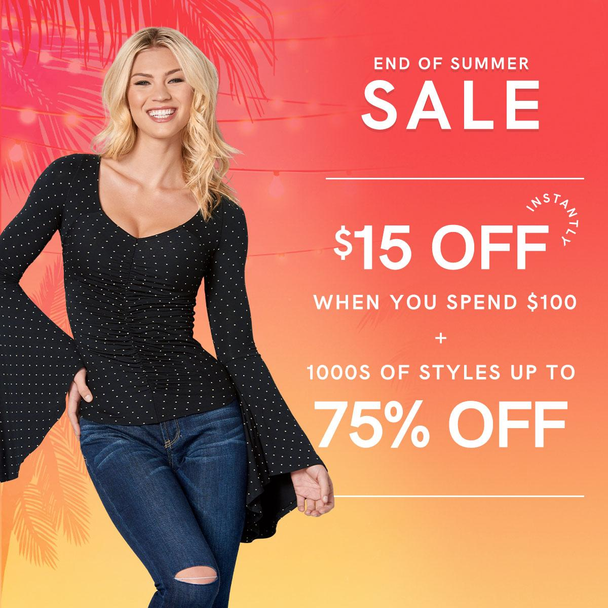 Goodbye summer, hello markdowns! Our annual End of Summer Sale is here. Get $15 off instantly when you spend $100 or more, plus shop the lowest prices of the season with savings up to 75%!  End of Summer Sale: https://t.co/lWzsbgQ3Gm https://t.co/I9NuxfV23S