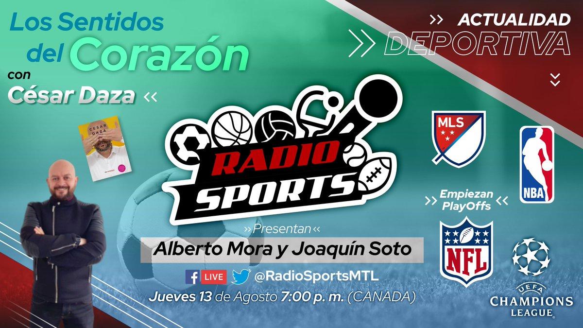 ¡HOY a las 7 p.m. (Hora MTL🇨🇦) - EN VIVO! 🚴🏼⚽🥇 @RadioSportsMTL con @BetoMora10 y @JuacoSoto.   ⚽ Hablaremos de fútbol y un bonito proyecto que lidera @DazaBernal.  #NHL #StanleyCup , #Formula1, #Ciclismo, #NBA #ChampionsLeague y muchas otras noticias.   ¡Los esperamos! https://t.co/xCknzfDZFI